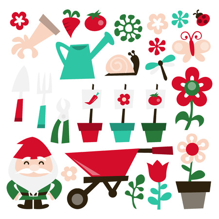 formal garden: A vector illustration of whimsical retro gardening theme clip arts. Included in this set:- watering can, garden glove, vegetables, garden tools, garden gnome, insects and flowers. Illustration