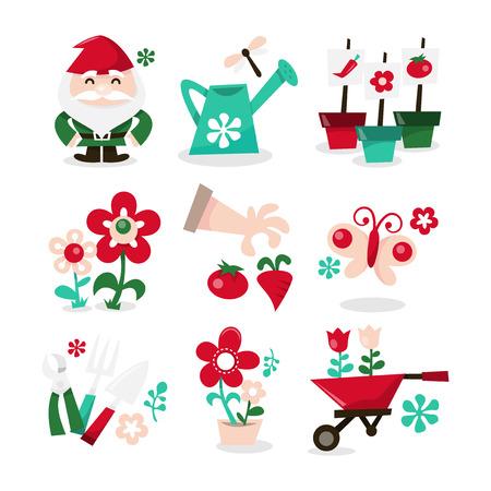 nain de jardin: Une illustration de vecteur d'ic�nes de jardinage fantaisistes r�gl�. Inclus dans cet ensemble: - nain de jardin, arrosoir, parterre de fleurs, des fleurs, des gants de jardin et l�gumes, papillon, outils de jardin, pot de fleur et brouette.