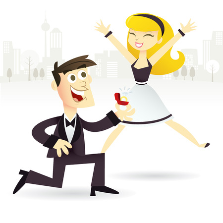 A cartoon vector illustration of a couple happy to be engaged. The groom to-be is shown to be kneeling down with a diamond ring while his happy bride-to-be jumping for joy. Illustration
