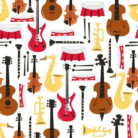 woodwind instrument: A vector illustration of musical instruments seamless pattern background. Illustration