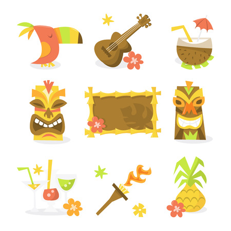 A vector illustration set of nine different luau tiki party theme. Included in this set:- toucan bird, guitar, ukulele, coconut juice, tiki statues, tiki sign, tropical cocktails, flame torch and pineapple.