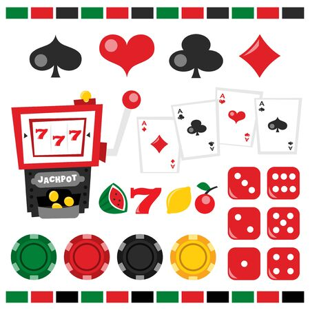 jackpot: A vector illustration of retro casino night theme design elements. Included in this set:- casino chips, dice, jackpot icons, jackpot, playing card, spade, heart, club, diamond. Illustration