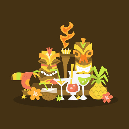 A vector illustration of a luau tiki party centerpiece.