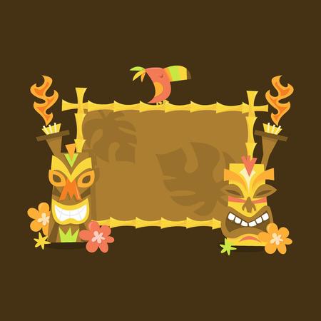 A vector illustration of a blank luau theme tiki sign.