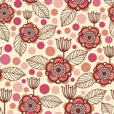 A vector illustration of retro floral theme seamless pattern background. Vektorové ilustrace