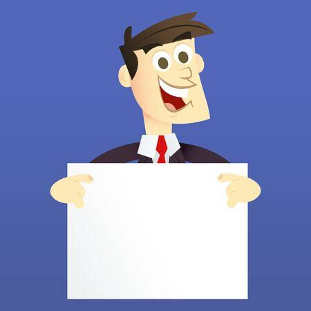 man holding a blank sign: A cartoon vector illustration of a business man holding a blank sign.