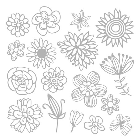 wacom: A vector illustration of different flowers in doodle lines style. This illustration was created using brush tool on illustrator with a wacom tablet. Illustration