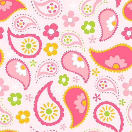 ピンク春ペイズリーのシームレスなパターン背景のベクトル イラスト。