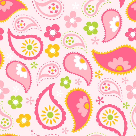 A vector illustration of pink spring paisley seamless pattern background.