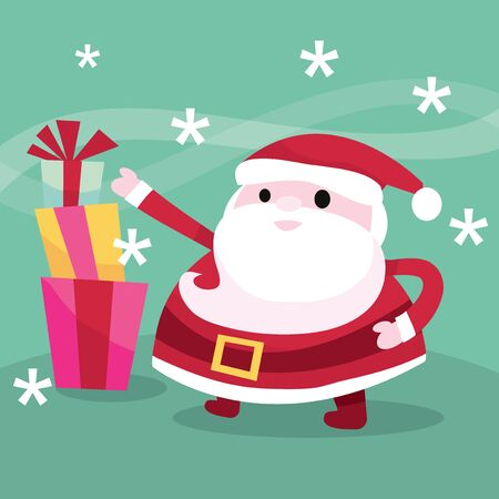 whimsical: A vector illustration of modern whimsical christmas santa with gifts.