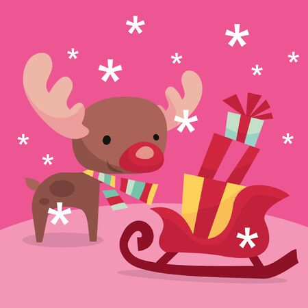 A vector illustration of modern whimsical christmas reindeer, sleigh and gifts. Ilustracja