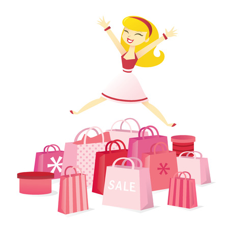 A vector illustration of a retro shopaholic girl jumping for joy because of super retail sale.