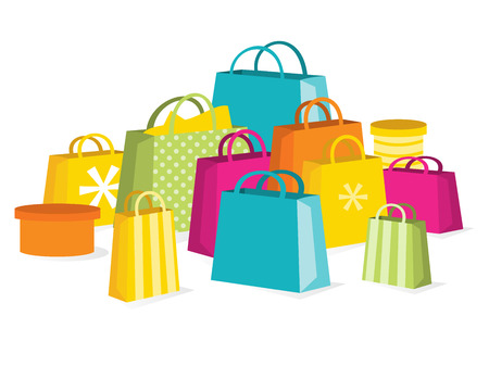A vector illustration of a collection of colorful shopping bags to illustrate the concept of a great retail sale. Çizim