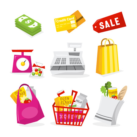 grocery basket: A vector illustration of retailshopping related theme icons. Included in this set:- moneycash, credit card, sale tag, weighing scale, cash register, shopping bag, grocery bag, grocery basket and paper.