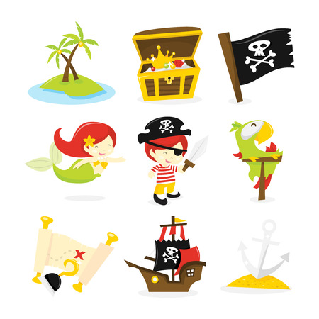 A vector illustration of pirate, mermaid and treasure island theme icon set. Included in this set:- deserted island, treasurechest, pirate flag, mermaid, pirate boy, sword, parrot, treasure map, hook, pirate ship and anchor. Vector