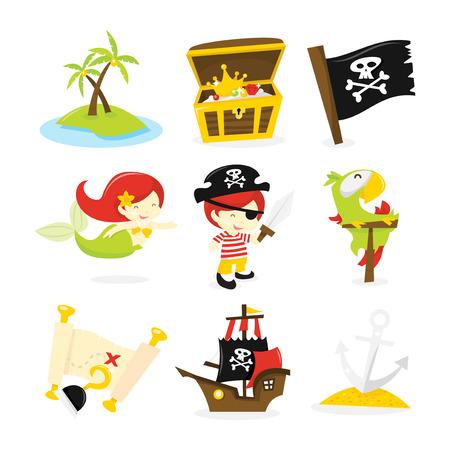 Ein Vektor-Illustration von Piraten, Meerjungfrau und Schatzinsel theme icon set. In diesem Set enthalten: - verlassenen Insel, Schatz / Brust, Piratenflagge, meerjungfrau, Piratenjunge, Schwert, papagei, Schatzkarte, haken, Piratenschiff und Anker. Standard-Bild - 39734443