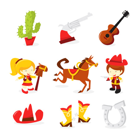 A vector illustration set of wild wild west theme icons. Included in this set:- cactus, pistol, guitar, cowgirl, horse, cowboy, cowboy hat, cowboy boots, and horse shoes.
