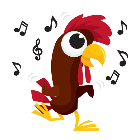 A vector illustration of a cartoon rooster chicken doing a chicken dance to some music.