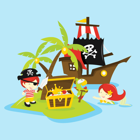 A vector illustration of a whimsical and fun cartoon treasure island adventure.