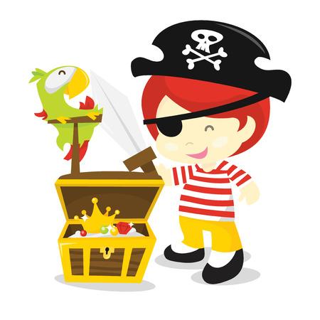 Een cartoon vector illustratie van een leuke piraat jongen compleet met papegaai en schatkist. Stock Illustratie