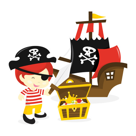 A cartoon vector illustration of a cute pirate boy with a pirate ship and treasure chest.