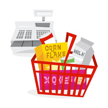 A vector illustration of the concept of grocery shopping: a basket full of grocery food and a cash register. Ilustracja