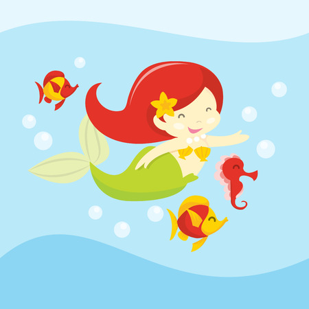 A cartoon vector illustration of a happy mermaid swimming with fishes and sea horse.