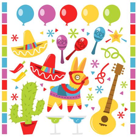 Een vector illustratie kenmerkt retro Mexicaanse partij design elementen tegen een witte achtergrond. Er zijn rode en gele sombrero feestmutsen. Er is een cactus in een rode pot. Er is een rij van blauw, paars, rood, geel en groene ballonnen. Er zijn purp