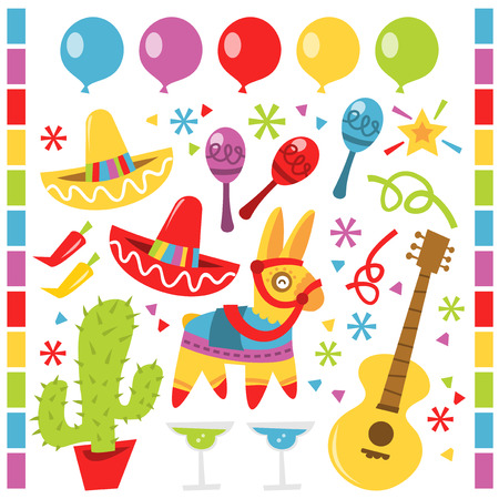 A vector illustration features retro Mexican party design elements against a white background.  There are red and yellow sombrero party hats.  There is a cactus in a red pot.  There is a row of blue, purple, red, yellow and green balloons.  There are purp