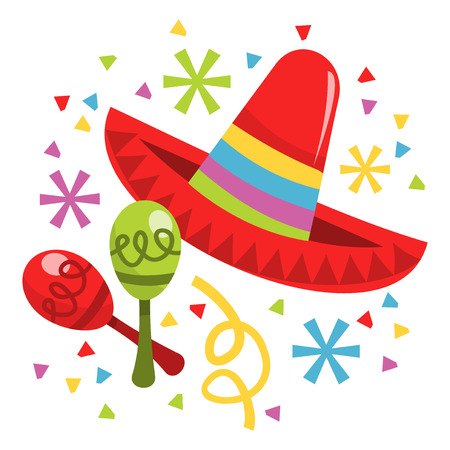 mexico cartoon: A vector illustration of mexican musical instrument maracas and sombrero hat. Illustration
