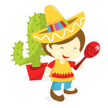 poncho: Una ilustraci�n vectorial de dibujos animados de un ni�o que desgasta el traje mexicano como poncho y sombrero y la celebraci�n de una maraca.