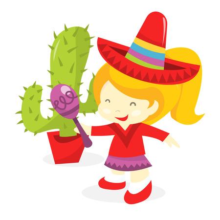 maraca: A cartoon vector illustration of a happy girl wearing mexican costume like sombrero and holding a maraca. Illustration