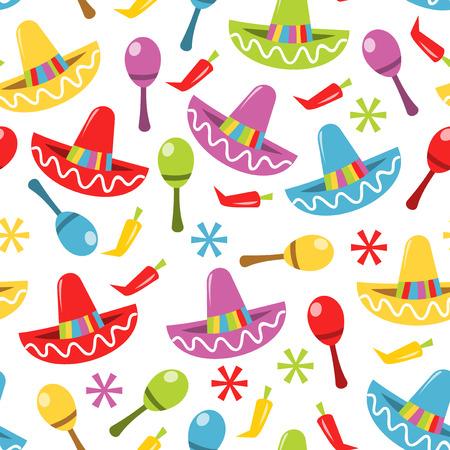 メキシカン フェスタ テーマのシームレスなパターン背景のベクトル イラスト。  イラスト・ベクター素材