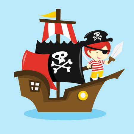 A cartoon vector illustration of a pirate kid on a pirate ship.
