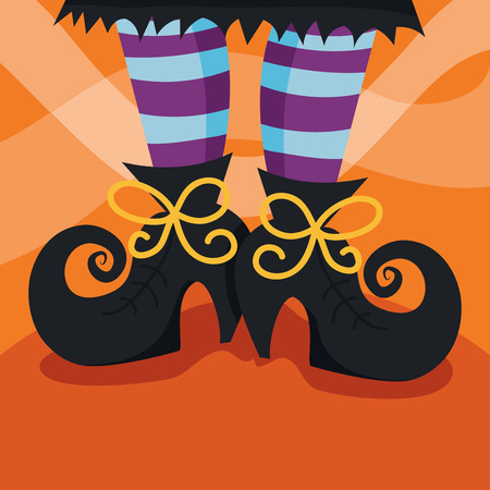 halloween witch: A cartoon vector illustration of a witchs bootsfoot. Illustration