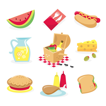 picnic basket: A vector illustration of picnic related icons. Included in this set: watermelon cutlery hot dog pitcher of lemonade picnic basket cheese and olive pie drumstick and condiment and sandwich.