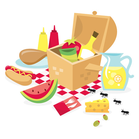 savoury: A vector illustration of a picnic basket filled with food. Illustration