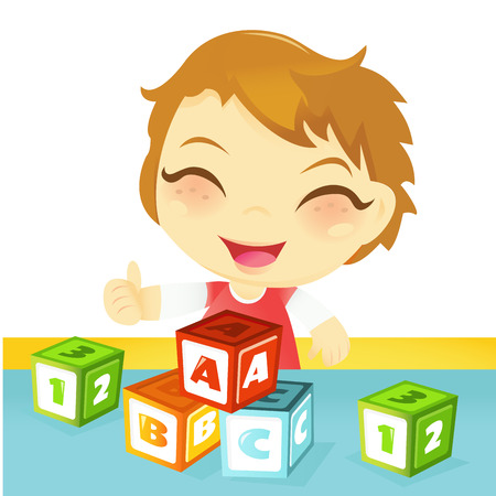 and blocks: A cartoon vector illustration of a cute happy little boy having fun playing with letter building blocks toy.