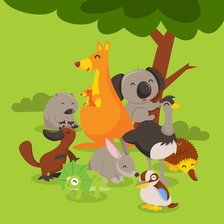 A cartoon vector illustration of a group of cute and happy australian animals like kangaroo koala bear wombat emu bilby echidna kookaburra frillneck lizard and platypus.