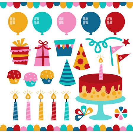 A vector illustration of birthday party elements like balloons gifts cupcakes cake ribbons and party hats. Illusztráció