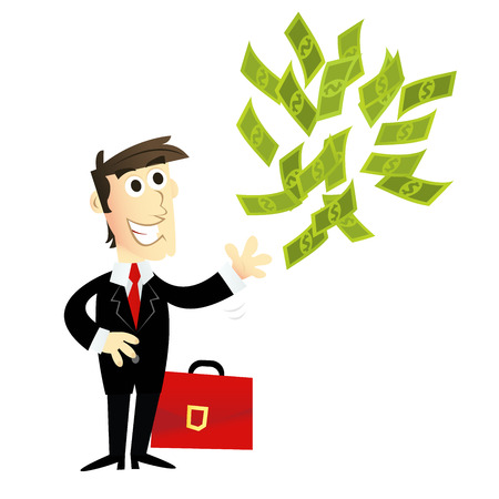 capitalist: A cartoon vector illustration of a rich investorventure capitalist with a briefcase and throwing money up in the air.