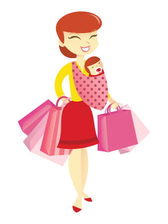 lady shopping: A cartoon vector illustration of a happy mom carrying baby on a sling and doing a bit of shopping.