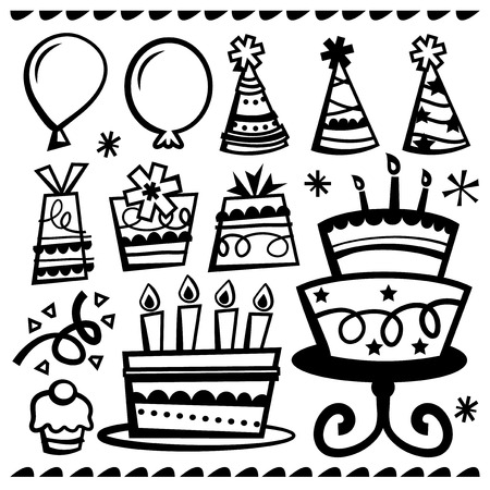 A vector illustration of different party design elements in doodle line style. Include in this set: balloons party hats gifts birthday cakes and cupcakes. Çizim