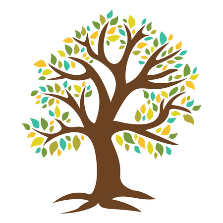 A chic vector illustration of a retro tree with colorful leaves.