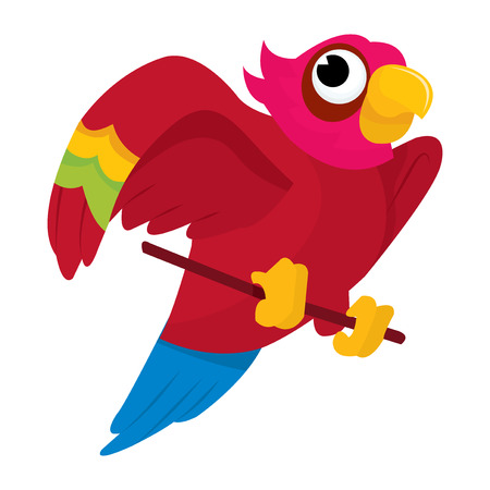 perching: A cartoon vector illustration of a cute little multi-color parrot. Illustration