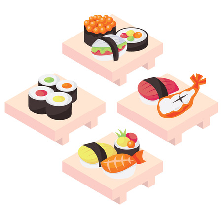 A vector illustration of four different sushi entree.