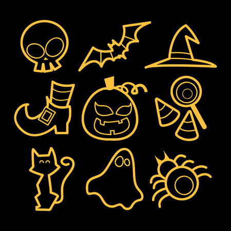A vector illustration set of nine different halloween related icons in doodle line art style.