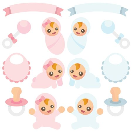baby boy announcement: A vector illustration of baby boys and baby girls in different poses as well as baby items like rattle,bib and pacifier Illustration