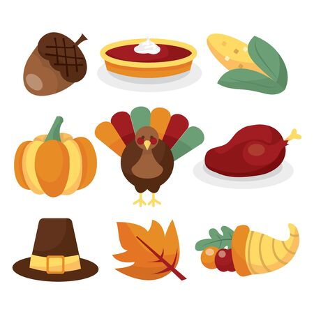 public celebratory event: A vector illustration set of thanksgiving related images.