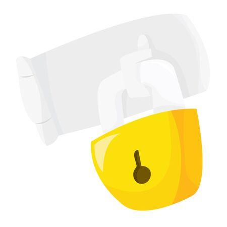 safeguards: A cartoon vector illustration of a lock. Illustration